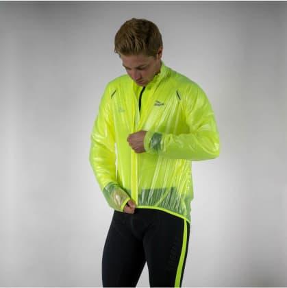 Ultraľahká a priedušná cyklovetrovka Rogelli CROTONE odolná voči silnému dažďu, reflexná žltá