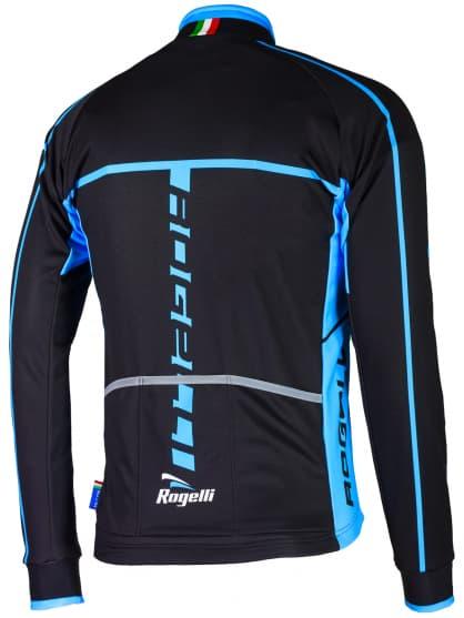 Softshellová cyklobunda s priedušným chrbtovým dielom a rukávmi Rogelli UMBRIA 2.0, čierno-modrá
