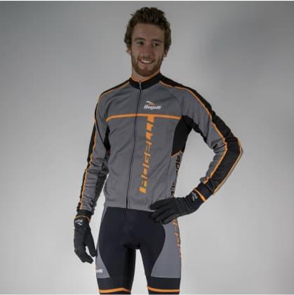 Cyklistický dres Rogelli UMBRIA 2.0 s dlhým rukávom, šedo-oranžový
