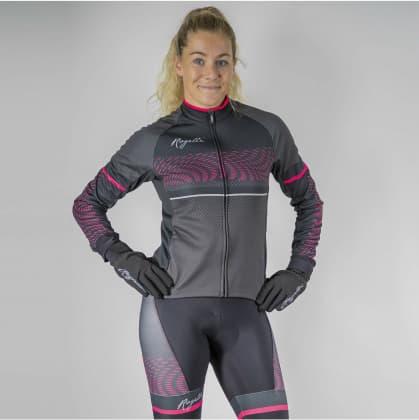 Dámsky cyklistický dres Rogelli BELLA s dlhým rukávom, čierno-ružový