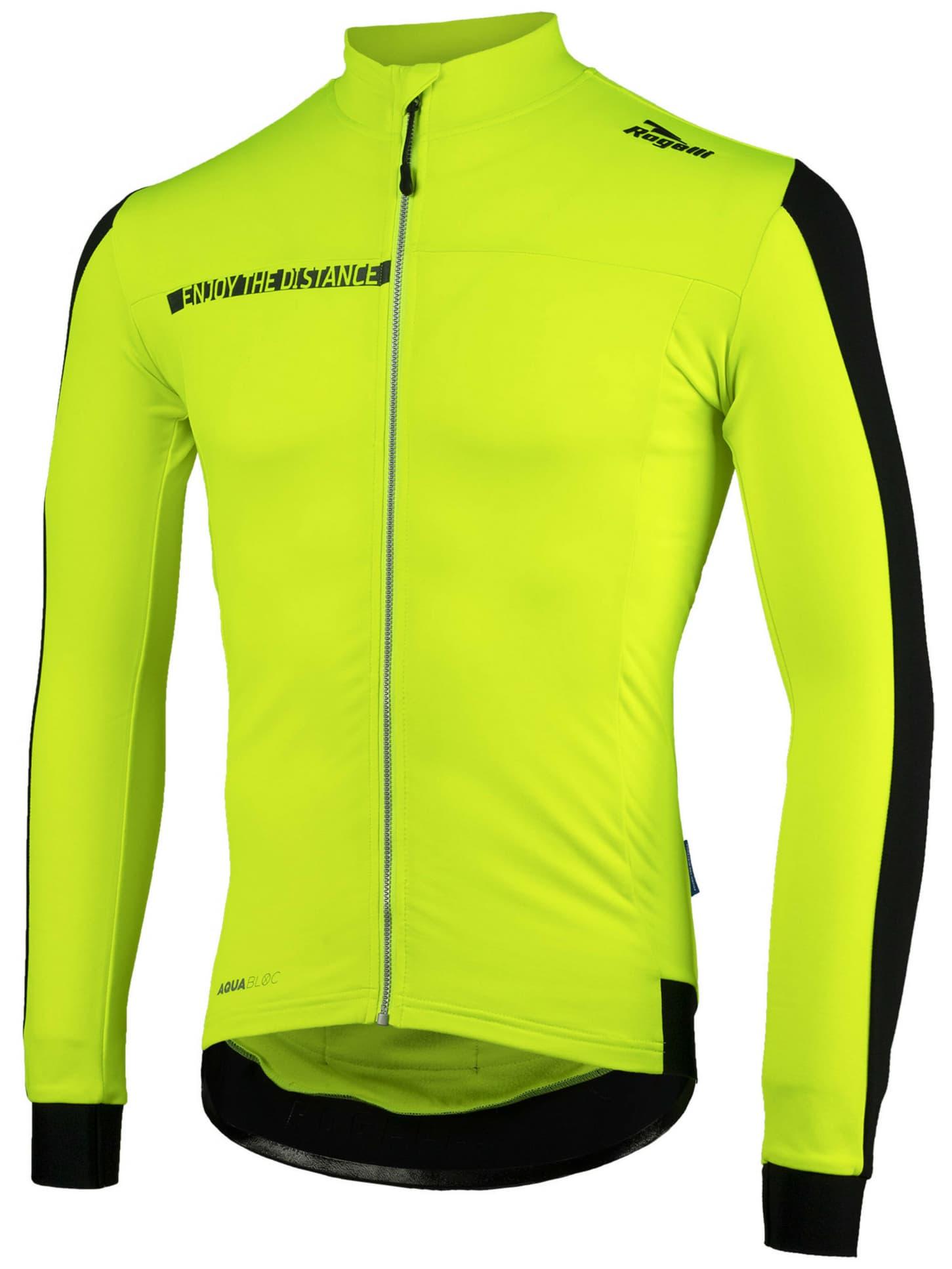 84f99abc817c3 Vodoodpudivý zateplený cyklodres Rogelli AQUABLOC s dlhým rukávom a DWR,  reflexno žltý-čierny