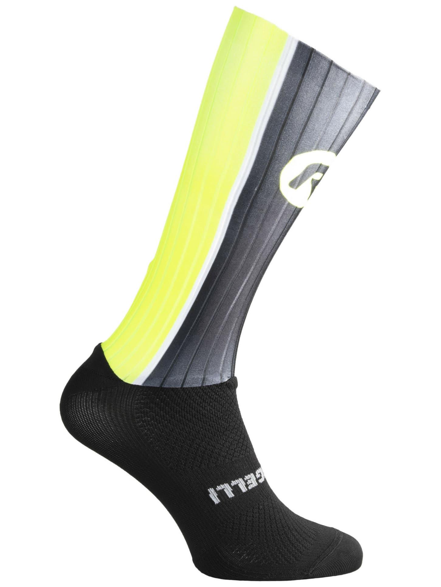 4ebaadba90288 Aerodynamické funkčné ponožky Rogelli AERO, čierno-šedo-reflexné žlté