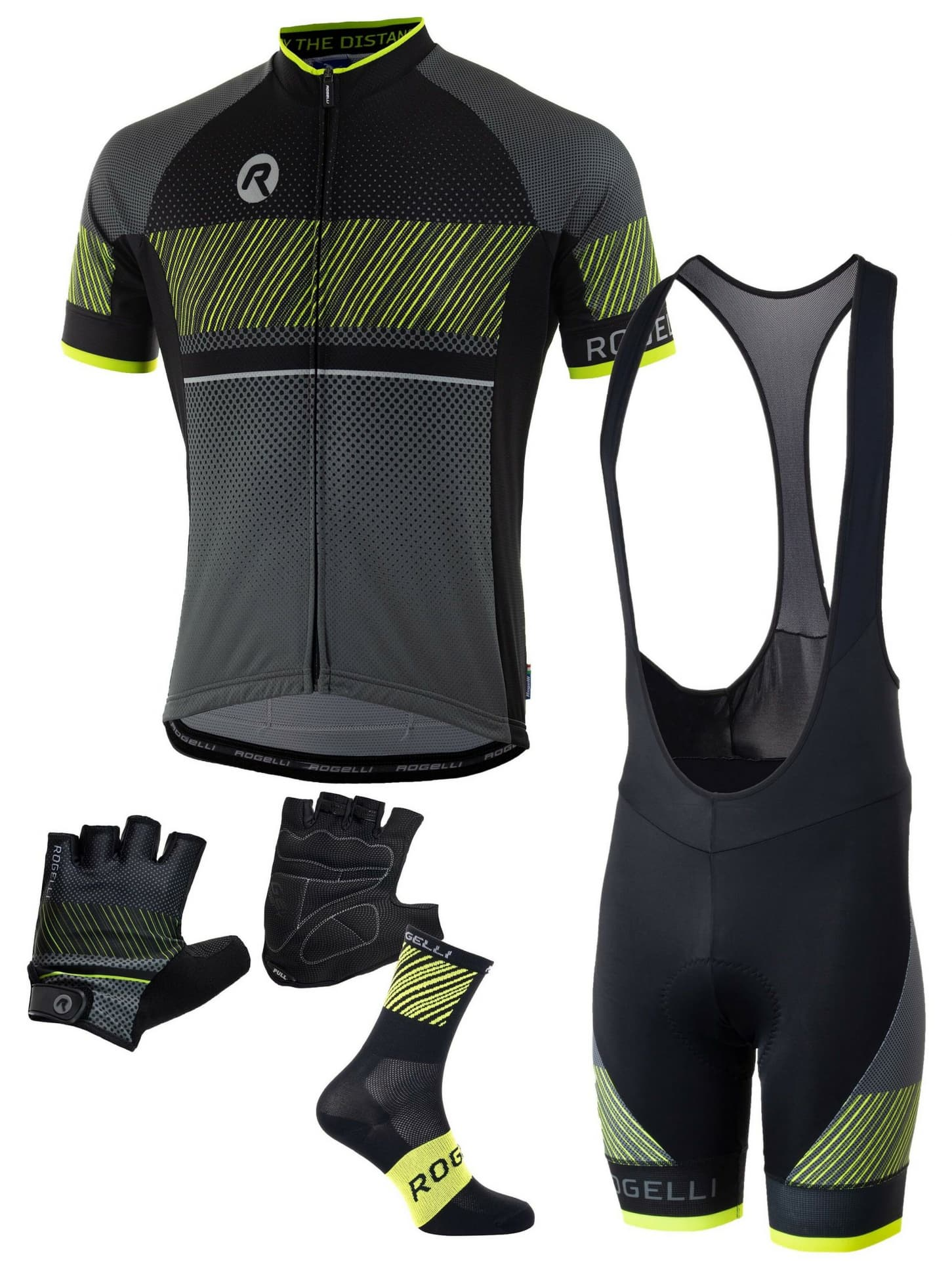 7551938876df5 Pánske cyklistické oblečenie Rogelli RITMO, čierno-reflexné žlté ...