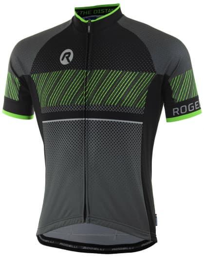238193e06b118 Voľnejší cyklodres Rogelli RITMO s krátkym rukávom, čierno-reflexný zelený