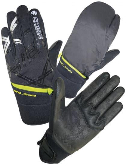 Stredne hrejivé zimné rukavice Chiba OVERFLAP s integrovaným návlekom proti vetru, čierna-reflexná-žltá