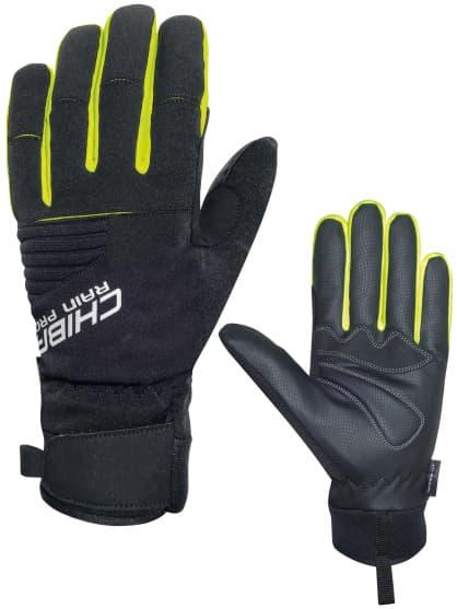 Silno hrejivé zimné rukavice Chiba RAIN TOUCH s nepremokavou membránou, čierno-reflexné žlté