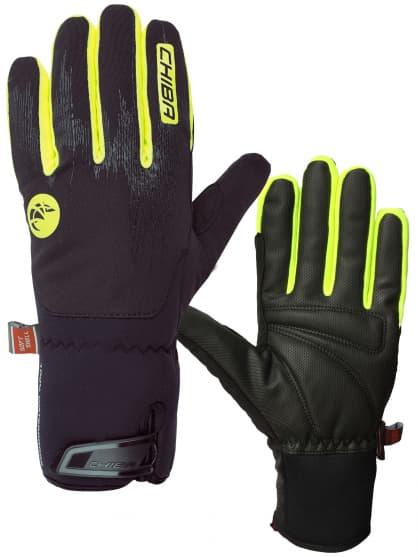 Veľmi silno hrejivé zimné rukavice DRY STAR SUPERLIGHT s odľahčením a nepremokavou membránou, čierna-reflexná žltá