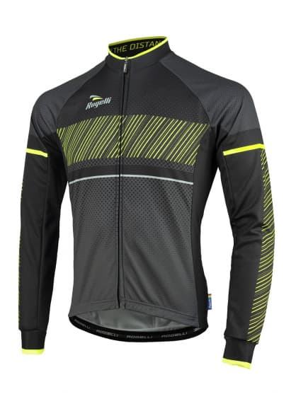 Cyklistický dres Rogelli RITMO s dlhým rukávom, čierno-reflexný žltý
