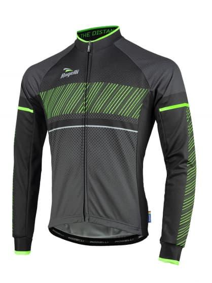 Cyklistický dres Rogelli RITMO s dlhým rukávom, čierno-zelený