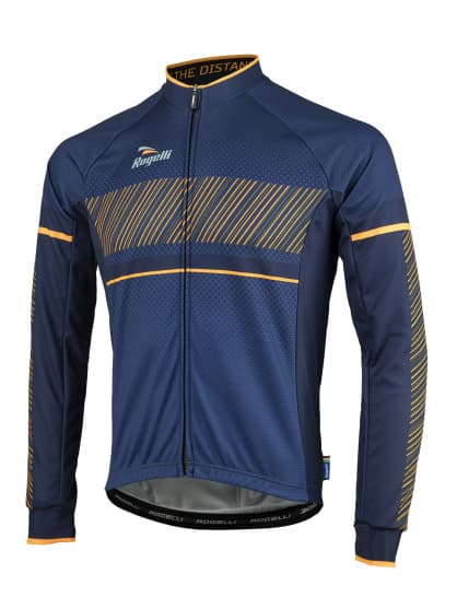 Cyklistický dres Rogelli RITMO s dlhým rukávom, čierno-oranžový