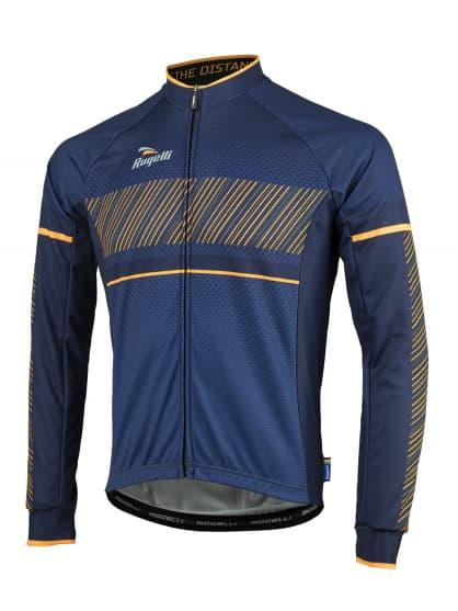 Cyklistický dres Rogelli RITMO s dlhým rukávom, modro-oranžový