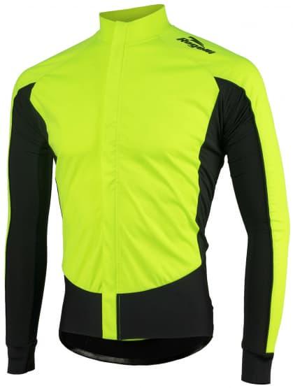 Vode a vetru odolný cyklistický dres s dlhým rukávom Rogelli W2 so softshellom a DWR, reflexná žltá-čierna