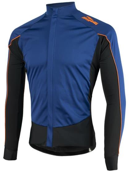 Vode a vetru odolný cyklistický dres s dlhým rukávom Rogelli W2 so softshellom a DWR, modro-oranžový