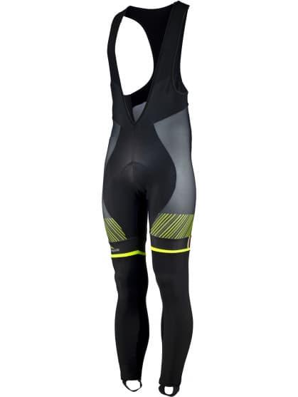 Exkluzívne cyklistické nohavice Rogelli RITMO s gélovou cyklovýstelkou, čierno-reflexné žlté