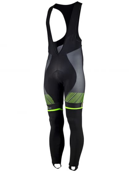 Exkluzívne cyklistické nohavice Rogelli RITMO s gélovou cyklovýstelkou, čierno-zelené