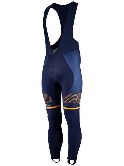 Exkluzívne cyklistické nohavice Rogelli RITMO s gélovou cyklovýstelkou, modro-oranžové