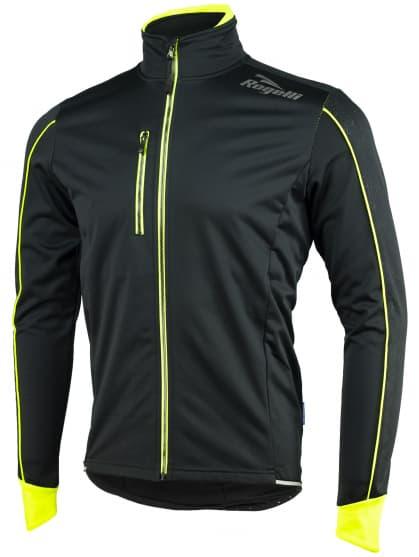 Softshellová bunda s výraznou reflexnou potlačou Rogelli RENON 3.0, čierno-reflexná žltá