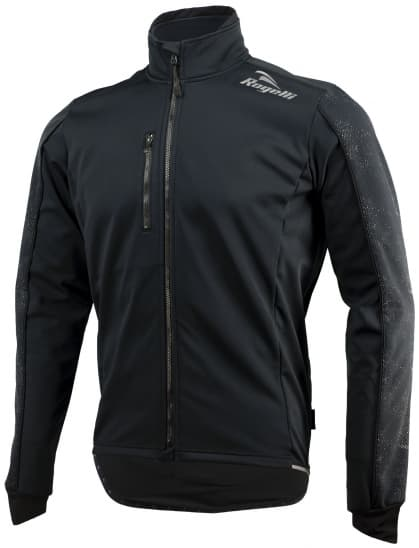 Softshellová bunda s výraznou reflexnou potlačou Rogelli RENON 3.0, čierna