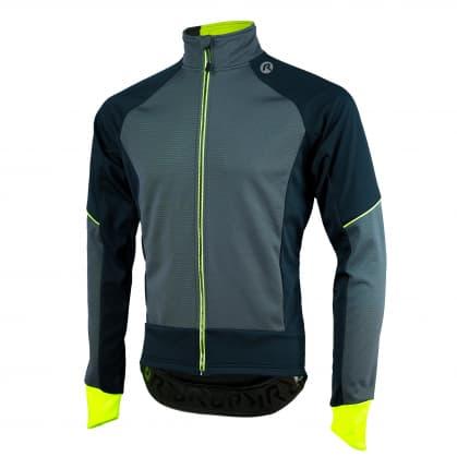 Softshellová bunda s hrubým zateplením Rogelli TRANI 4.0 s priedušným chrbtovým panelom, čierno-reflexná žltá