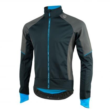 Softshellová bunda s hrubým zateplením Rogelli TRANI 4.0 s priedušným chrbtovým panelom, čierno-modrá