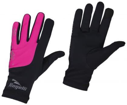 Dámske bežecké zimné rukavice Rogelli TOUCH, čierno-ružové