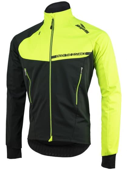 Ľahká a extrapriedušná softshellová bunda Rogelli CONTENTO s modernými detailmi, čierno-reflexná žltá