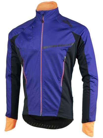 Ľahká a extrapriedušná softshellová bunda Rogelli CONTENTO s modernými detailmi, modro-čierno-oranžová