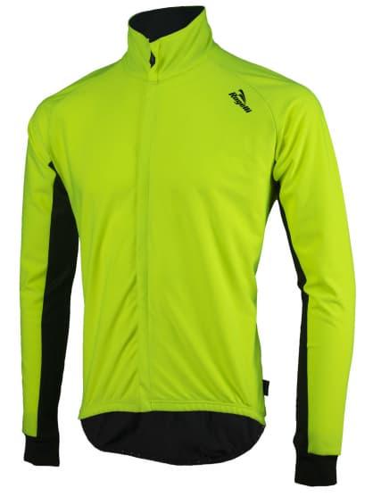 Vode a vetru odolný cyklistický dres s dlhým rukávom Rogelli ALL SEASONS so softshellom a DWR, reflexný žltý-čierny
