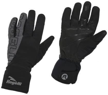 Zimné softshellové rukavice Rogelli FLASH s veľkou reflexnou potlačou, čierne