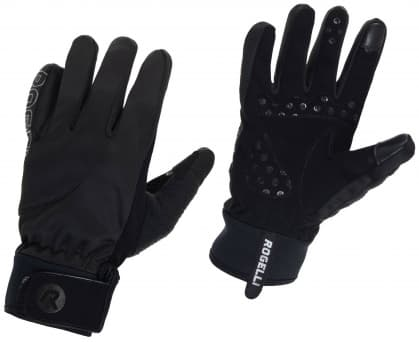 Tenšie zimné gélové cyklistické rukavice Rogelli STORM, čierne