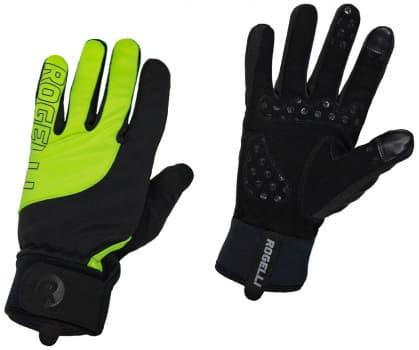 Tenšie zimné gélové cyklistické rukavice Rogelli STORM, čierno-reflexné žlté