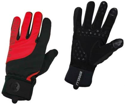 Tenšie zimné gélové cyklistické rukavice Rogelli STORM, čierno-červené