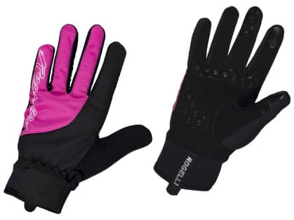 Dámske zimné gélové cyklistické rukavice Rogelli STORM, čierno-ružové