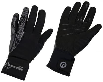 Dámske zimné softshellové rukavice Rogelli FLASH s veľkou reflexnou potlačou, čierne