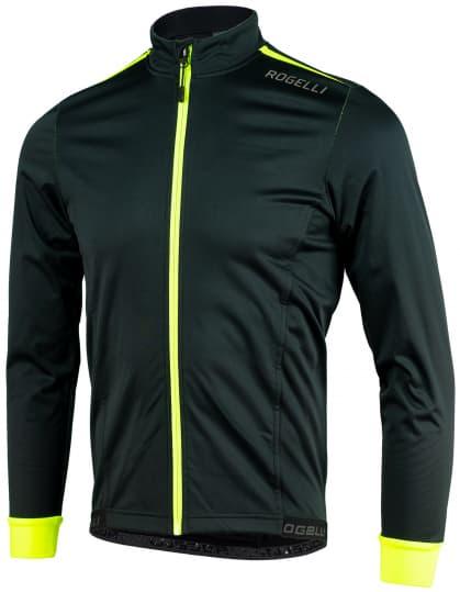 Ľahká softshellová bunda s priedušným chrbtovým panelom Rogelli PESARO 2.0, čierno-reflexná žltá