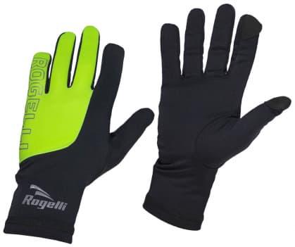 Pánske bežecké zimné rukavice Rogelli TOUCH, čierno-reflexné žlté