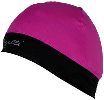 Dámska elastická čiapka s otvorom pre vlasy Rogelli MAXIE, reflexná ružová-čierna