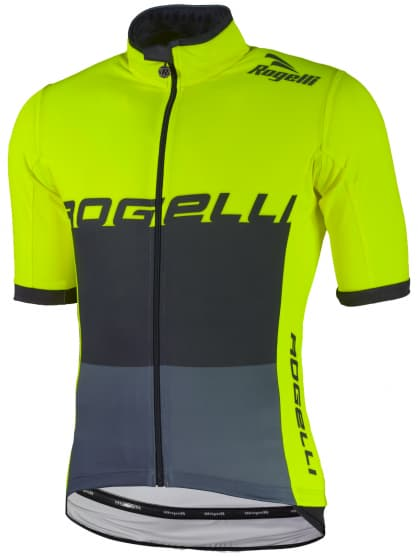 Vodoodolný cyklodres s ochranou chrbta Rogelli HYDRO s krátkym rukávom, reflexný žltý