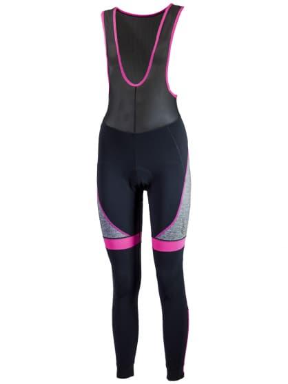 Dámske cyklistické nohavice Rogelli CAROU s gélovou cyklovýstelkou, čierno-ružové
