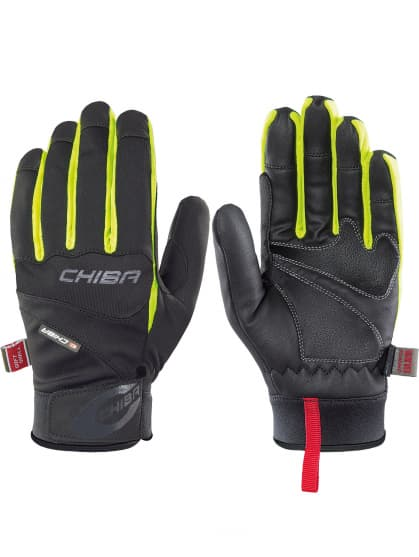 Stredne hrejivé softshellové rukavice Chiba TOUR PLUS, čierno-reflexné žlté