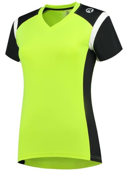 Dámske funkčné tričko Rogelli EABEL, reflexno žlté-čierno-biele