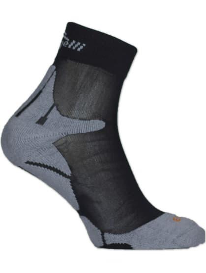 Špeciálne stredne hrejivé ponožky so zosilnenou špičkou a pätou Rogelli COOLMAX RUN, čierno-šedé