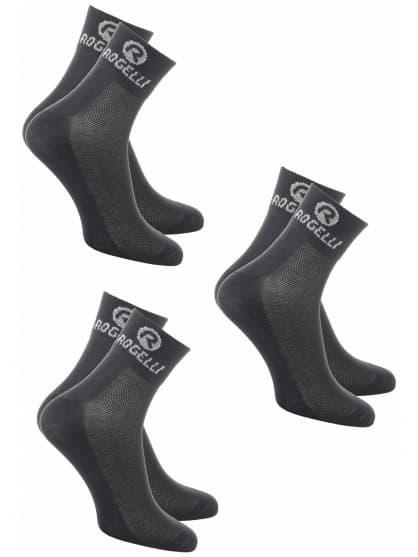 Funkčné ponožky Rogelli COOLMAX - 3 páry, rôzne veľkosti, čierne