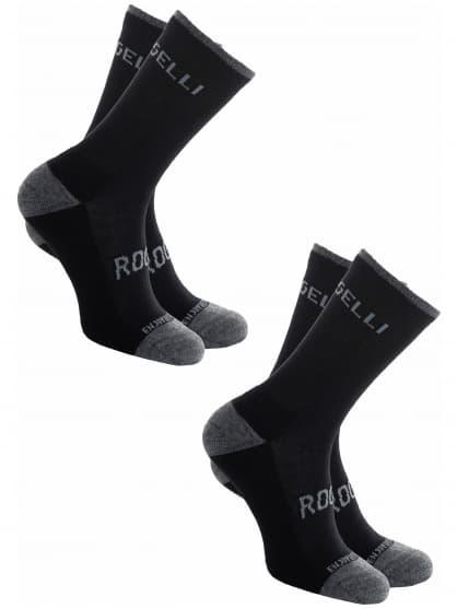 Funkčné zimné ponožky Rogelli MERINO - 2 páry, rôzne veľkosti, čierne