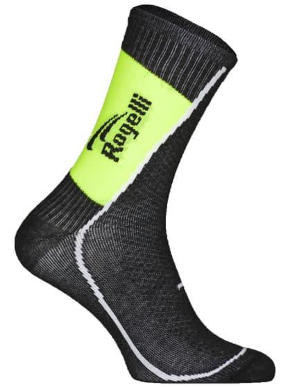 Stredne hrubé funkčné ponožky s miernou kompresiou Rogelli THERMOCOOL, čierno-reflexné žlté