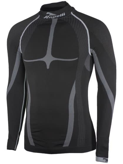 KOMPRESNÉ funkčné tričko Rogelli, dlhý rukáv, čierno-šedé