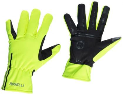 Tenké softshellové zimné rukavice s protisklzovou dlaňou Rogelli ANGOON, reflexné žlté