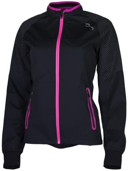 Ultraľahká softshellová bunda s výraznou reflexnou potlačou Rogelli STERNE, čierno-reflexno ružová