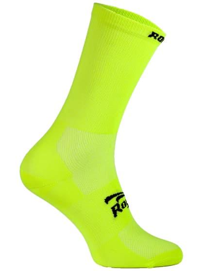 Antibakteriálne jednofarebné ponožky s miernou kompresiou Rogelli Q-SKIN, reflexné-žlté