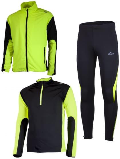 Funkčné bežecké oblečenie Rogelli D-MEN, reflexné žlté-čierne